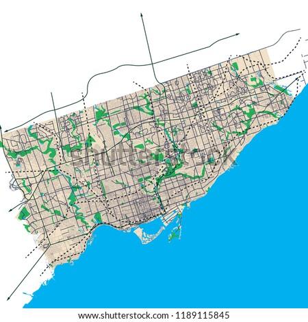 Toronto Ontario Canada Street Network Highway Stock Vector Royalty