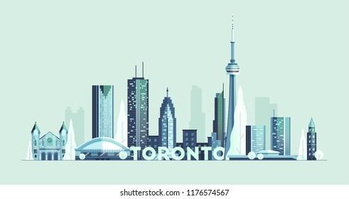Toronto skyline, Canada, detail city silhouette, vector illustration