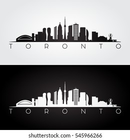 Toronto skyline and landmarks silhouette, black and white design, vector illustration.