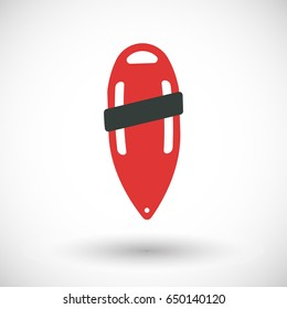 Torpedo buoy lifeguard icon, Flat design of swimming safety with round shadow, vector illustration