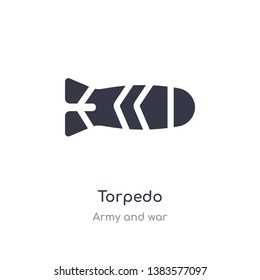 torpedo icon. isolated torpedo icon vector illustration from army and war collection. editable sing symbol can be use for web site and mobile app