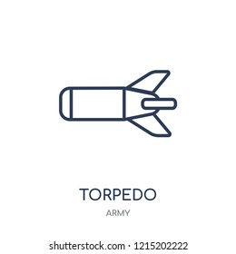 Torpedo icon. Torpedo linear symbol design from Army collection.