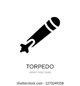 torpedo icon vector on white background, torpedo trendy filled icons from Army and war collection, torpedo simple element illustration