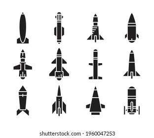 torpedo missile icons vector set