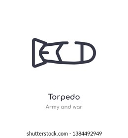 torpedo outline icon. isolated line vector illustration from army and war collection. editable thin stroke torpedo icon on white background