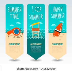 Torpedo rescue lifeguard buoy, lifeguard tower and whistle. Summer Travel and vacation vector banners. Summertime. Holiday
