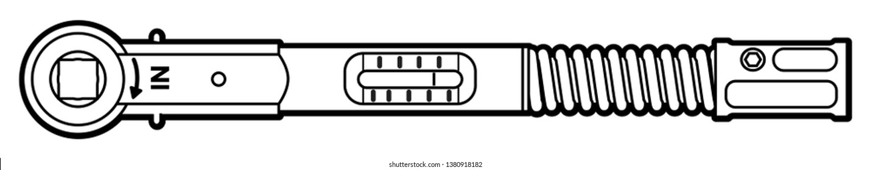 Torque Ratchet Wrench for Dental Implants. Outline technique in black lines 2D illustration.