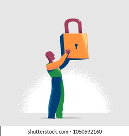 Torso of a manager is locking one virtual lock in a lineup of open padlocks. Business metaphor and technology concept for cyber security, critical data streaming, encryption and personal information.