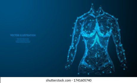 Torso of a woman close-up. Strong athletic muscular body. The concept of sports, healthy eating, healthy lifestyle. 3d low poly wireframe model isolated vector illustration.