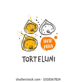 Tortellini pasta. Italian cuisine. Logo, icon and label for your design. Hand drawn doodle vector illustration. Can be used for menu, cafe, restaurant, bar, poster, shop, food studio, emblem, sticker.