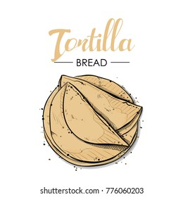 Tortilla bread drawing. Sketch style. Vector.