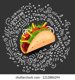 Tortilla Burritos wrap vector cartoon illustration. Mexican burritos with french fries and vegetables Icon. Mexican Wraps Burrito, Wrapped tortilla and burrito with vegetables isolated on black with