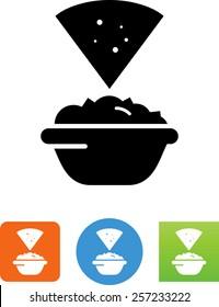 Tortilla chip and guacamole icon