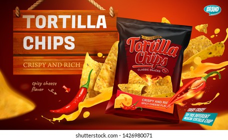 Tortilla chips ads with cheese sauce flying in the air in 3d illustration