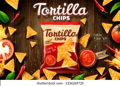 Tortilla chips ads with cookies package laying on wooden table background in 3d illustration