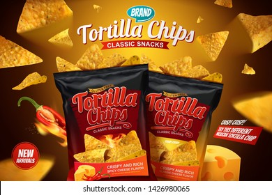 Tortilla chips ads with corn chips flying in the air in 3d illustration