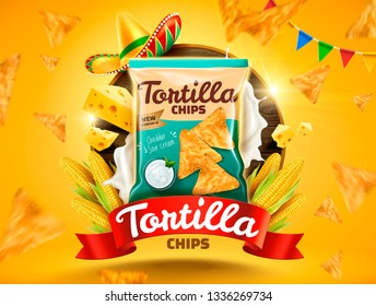 Tortilla chips ads with flying cookies and corns on yellow background in 3d illustration
