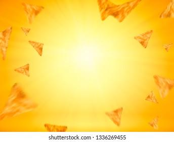 Tortilla chips flying in the air, 3d illustration