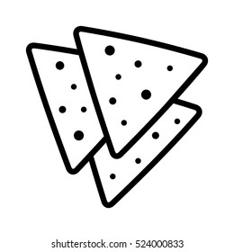 Tortilla chips or nachos tortillas line art vector icon for apps and websites