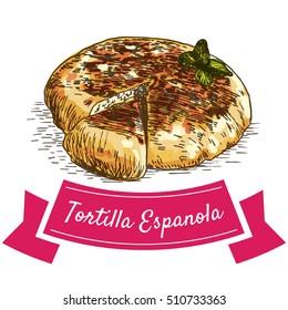 Tortilla Espanola colorful illustration. Vector illustration of Spanish cuisine.