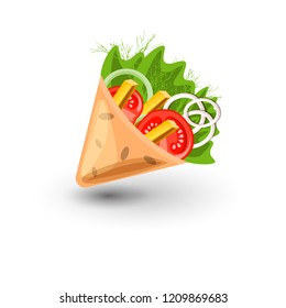 Tortilla wrap vector cartoon illustration. Mexican burritos with french fries and vegetables Icon. Mexican Wraps Wrapped tortilla and burrito with fillings from vegetables, greens, fries isolated on