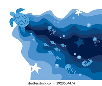 Tortoise animal and fishes at sea design life ecosystem fauna and ocean theme Vector illustration