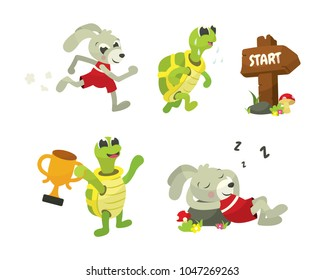 The Tortoise and The Hare Story Book Vector Illustration Collection