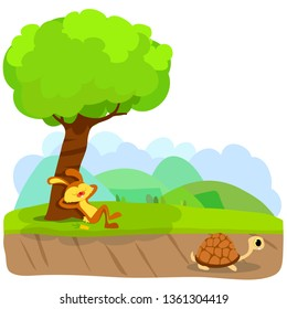 Tortoise and The Hare or Turtle and The Rabbit Fable Vectoral Illustration. Rabbit is Sleeping Under the Tree, Turtle is Running to Finish. White BAckground Isolated.