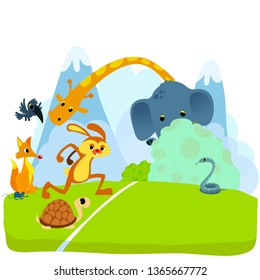 Tortoise and The Hare or Turtle and The Rabbit Fable Vectoral Illustration. Start of The Race.