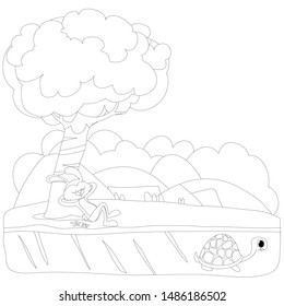 Tortoise and The Hare or Turtle and The Rabbit Fable Vectoral Illustration. Black and White Coloring Book. Rabbit is Sleeping Under the Tree, Turtle is Running to Finish.