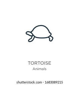 Tortoise icon. Thin linear tortoise outline icon isolated on white background from animals collection. Line vector sign, symbol for web and mobile