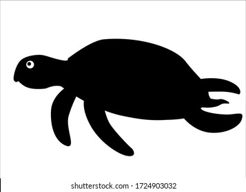 Tortoise silhouette. Vector black silhouette of a swimming sea turtle for logo or icon. Turtle - Underwater - vector silhouette for sign or pictogram.