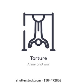torture outline icon. isolated line vector illustration from army and war collection. editable thin stroke torture icon on white background