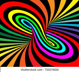 Torus inside view with geometrical hypnotic psychedelic colorful stripes. Vector illustration.