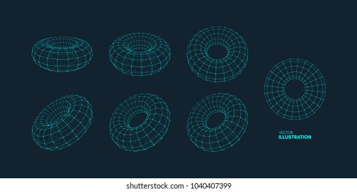Torus. Object with dots. Molecular grid. Technology style with particle. Vector illustration. Futuristic connection structure for chemistry and science.