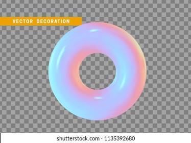 Torus, simple 3d shape isolated on transparent background. Volumetric round ring