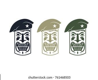 Toscano Aloha Mask Statue Hawaii Tiki with Army Hat Illustration Logo Design