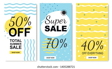 Total Discounts and Summer Sales Tags Flat Set. Vector Collection with 40, 50, 70 Percent off. Journal Cards. Templates for Social Stories. Printable Flyers. Absolute Final Shop Rake-off Illustration