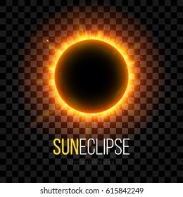 Total Eclipse of the Sun with Corona on Transparent Background. Digital Artwork Creative Graphic Design. Vector Illustration.