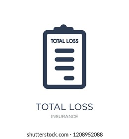 total loss icon. Trendy flat vector total loss icon on white background from Insurance collection, vector illustration can be use for web and mobile, eps10