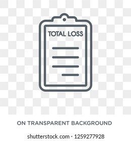 total loss icon. Trendy flat vector total loss icon on transparent background from Insurance collection. High quality filled total loss symbol use for web and mobile