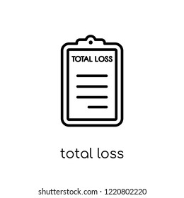 total loss icon. Trendy modern flat linear vector total loss icon on white background from thin line Insurance collection, editable outline stroke vector illustration