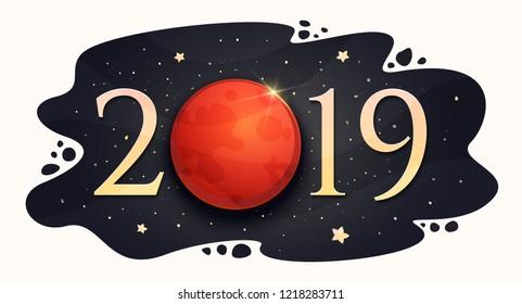 Total lunar eclipse 21 January 2019. Blood Moon. Vector illustration
