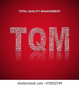 Total quality management typography background. Red background with main title TQM filled by other words related with total quality management method