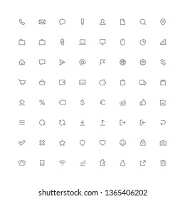 Total rounded icon set - phone, mail, message, file, search, gear, home, graph, arrows, shopping cart and other symbols. Contacts, office, business and finance, internet and website outline vector.