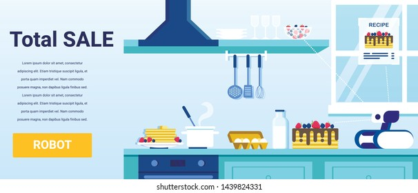 Total Sale on Household Intelligent Robots Advertising Banner. Promotion Test and Modern Flat Kitchen Interior. Cartoon Domestic Personal Robotic Cooking Cake Using Recipe. Vector Illustration