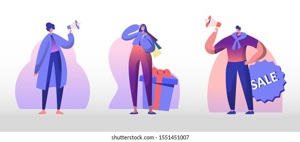 Total Sale Set. Young Man and Woman Shout in Megaphone Inviting Customers for Shopping. Girl with Bags Stand at Huge Gift Box Shop Promotion Discount and Price Off Day. Flat Vector Illustration