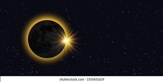 Total solar eclipse of the sun Night starry sky half full waxing moon Equinox planet Earth day Waning Crescent Gibbous means Vector Moonlight evening alchemy astrology symbol icon icons Phases Solar
