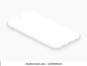 Totally soft isometric white vector smartphone. 3d realistic empty screen phone template for inserting any UI interface, test or business presentation. Floating soft mock up design perspective view.