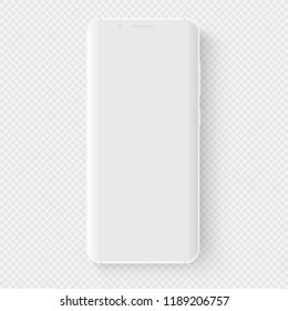 Totally soft realistic white vector smartphone. 3d realistic phone template for inserting any UI interface test or business presentation. Floating soft mock up with a blank white display.